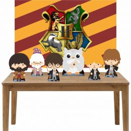 Kit 6 Displays de Mesa e Painel Harry Potter