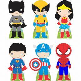 Kit 6 Displays de Mesa e Painel Heróis Baby