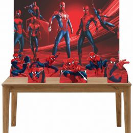Kit 6 Displays de Mesa e Painel Homem Aranha