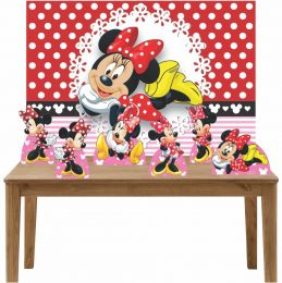 Kit 6 Displays de Mesa e Painel Minnie Vermelha