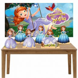 Kit 6 Displays de Mesa e Painel Princesa Sofia
