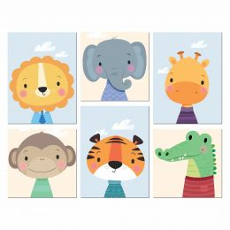 Kit Quadro Placa Decorativa MDF Quarto Infantil Safari 6 peças
