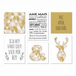 Kit Quadro Placa Decorativa MDF Sala Quarto Frase 6 peças