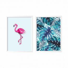 Kit Com 2 Quadros Flamingo Tropical