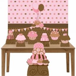 Kit Decoração de Festa Totem Display 8 peças Cupcakes e Bolo