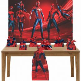 Kit Decoração de Festa Totem Display 8 peças Homem Aranha