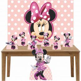 Kit Decoração de Festa Totem Display 8 peças Minnie Rosa