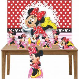 Kit Decoração de Festa Totem Display 8 peças Minnie Vermelha