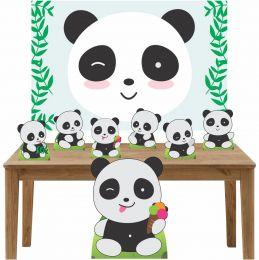 Kit Decoração de Festa Totem Display 8 peças Pandas