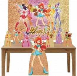 Kit Decoração de Festa Totem Display 8 peças Winx