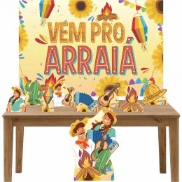 Kit decoração de festa totem display 9pçs+painel- Festa Junina