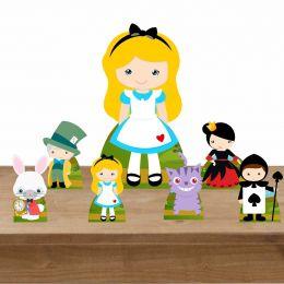 Kit Decoração de Festa Totem Display Alice no País das Maravilhas 7 Peças