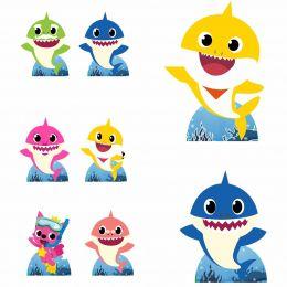 Kit Decoração de Festa Totem Display Baby Shark - 8 Peças