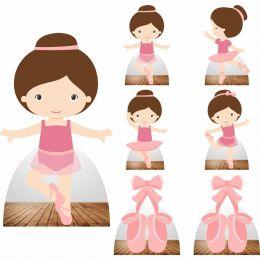 Kit Decoração de Festa Totem Display Bailarina - 7 Peças