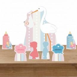 Kit Decoração de Festa Totem Display Chá Revelação 7 Peças