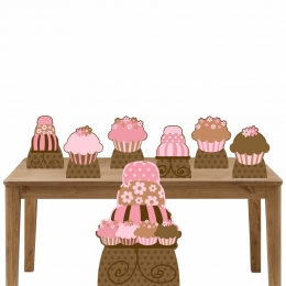 Kit Decoração de Festa Totem Display Cupcakes e Bolo - 7 Peças