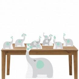 Kit Decoração de Festa Totem Display Elefante Verde 7 Peças