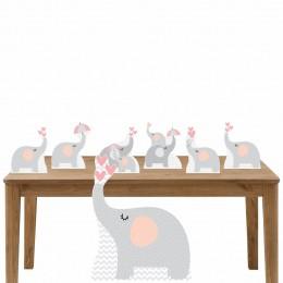 Kit Decoração de Festa Totem Display Elefante Rosa 7 Peças