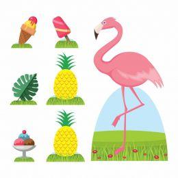 Kit Decoração de Festa Totem Display Flamingo - 7 Peças