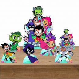 Kit Decoração de Festa Totem Display Jovens Titans 7 Peças