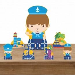 Kit Decoração de Festa Totem Display Marinheiro 7 Peças