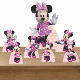 Kit Decoração de Festa Totem Display Minnie Rosa 7 Peças