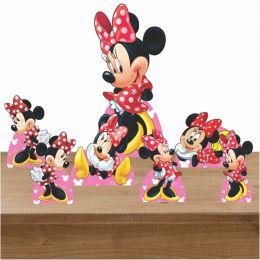 Kit Decoração de Festa Totem Display Minnie Vermelha 7 Peças