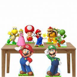 Kit Decoração de Festa Totem Display Super Mario - 8 Peças