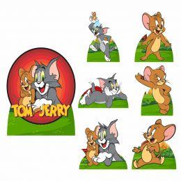 Kit Decoração de Festa Totem Display Tom e Jerry 7 Peças