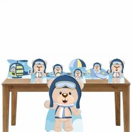 Kit Decoração de Festa Totem Display Ursinho Aviador - 7 Peças