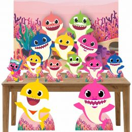 Kit Decoração Festa Totem Display 9 peças Baby Shark Rosa