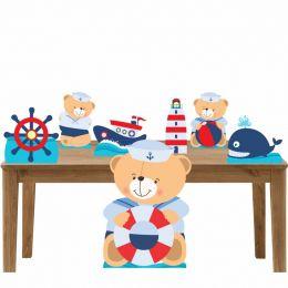 Kit Decoração Festa Totem Display Ursinho Marinheiro-7 Peças