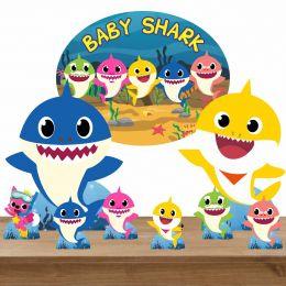 Kit Decoração Totem Display 7 peças e Elipse Baby Shark