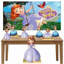 Kit Decoração de Festa Totem Display 8 peças Princesa Sofia