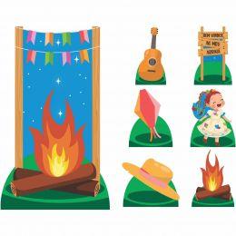 Kit Decoração Totem Display 8 peças Festa Junina Menina