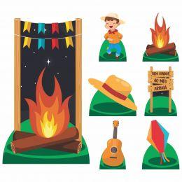 Kit Decoração Totem Display 8 peças Festa Junina Menino