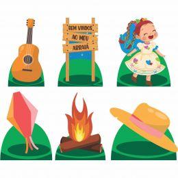 Kit Decorativo 6 Displays de Mesa Festa Junina Menina