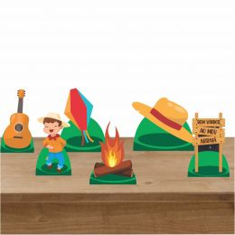 Kit Decorativo 6 Displays de Mesa Festa Junina Menino