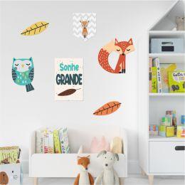 Kit Quadro Decorativo De Quarto Infantil Em Mdf Animais