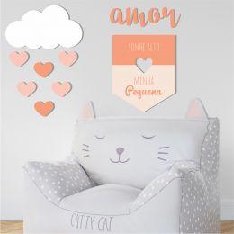 Kit Quadro Decorativo Em Mdf p/ quarto infantil Menina Amor
