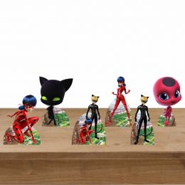 Kit Display Mesa Decoração De Festa Ladybug - 6 Peças