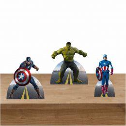 Kit Festa 3 Displays de Mesa Capitão América e Hulk