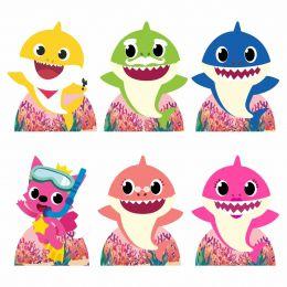 Kit Festa 6 Displays de Mesa Aniversário Baby Shark Rosa