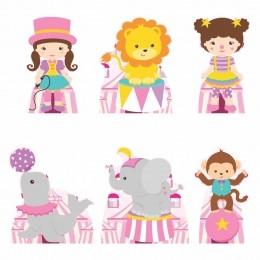Kit Festa 6 Displays de Mesa Aniversário Circo Menina