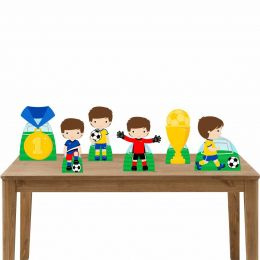 Kit Festa 6 Displays de Mesa Aniversário Futebol Cute