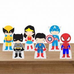 Kit Festa 6 Displays de Mesa Aniversário Heróis