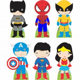 Kit Festa 6 Displays de Mesa Aniversário Heróis Baby