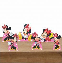 Kit Festa 6 Displays de Mesa Aniversário Minnie Vermelha