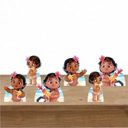 Kit Festa 6 Displays de Mesa Aniversário Moana Baby