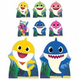 Kit Festa Totem Display Baby Shark Amarelo e Azul - 8 Peças